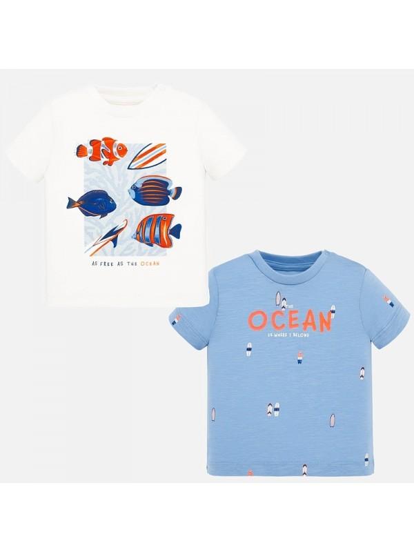 Set tricouri maneca scurta imprimeu bebe baiat