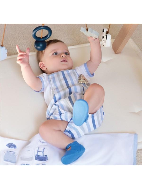 Set tricou si salopeta cu dungi bebe baiat nou-nascut