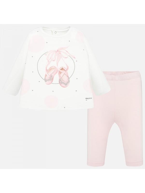 Set tricou cu imprimeu si leggings bebe fetita