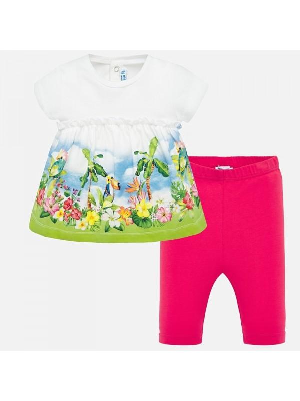 Set tricou desene si leggings bebe fetita