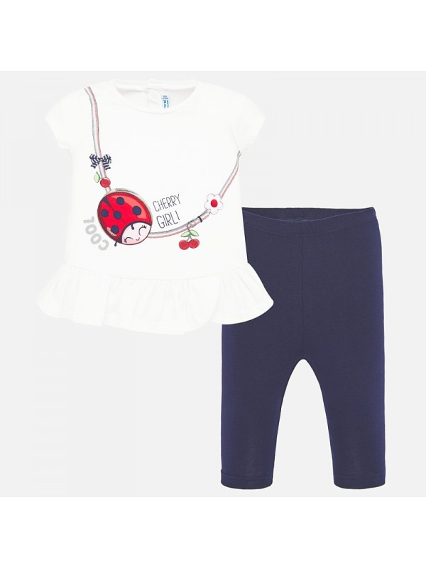 Set tricou animalut si leggings bebe fetita