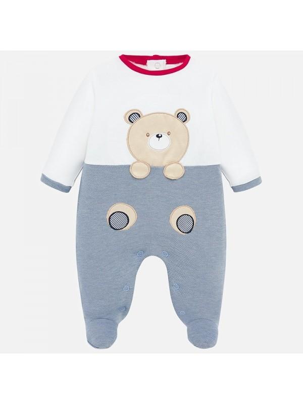 Pijama lunga ursulet bebe baiat nou-nascut