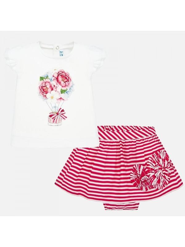 Set tricou si fusta dungi bebe fetita