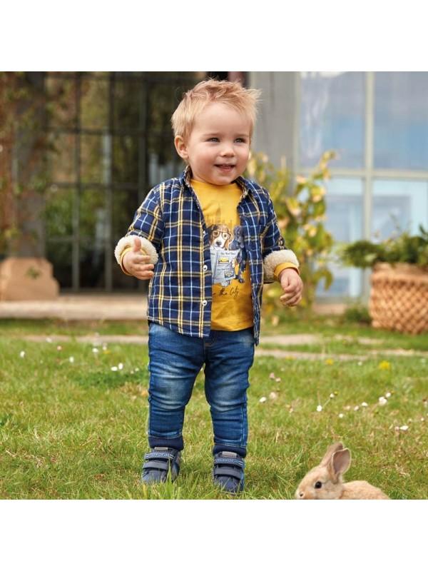 Pantaloni lungi denim mansete jogger bebe baiat