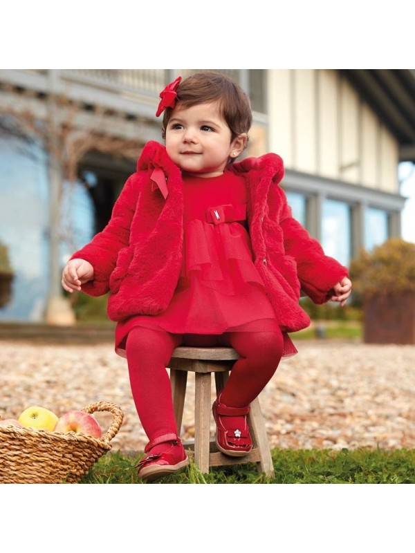 Rochie catifea combinata tul bebe fetita