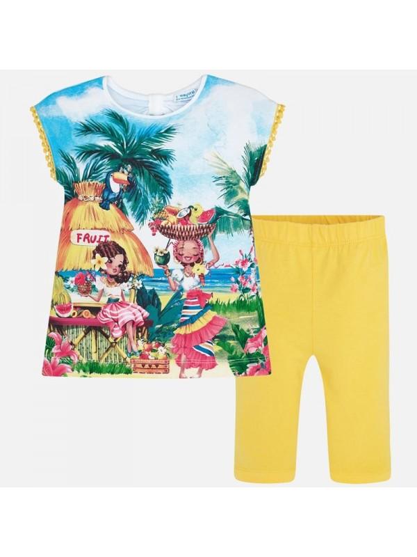 Set tricou tropical si pantaloni trei sferturi fetita