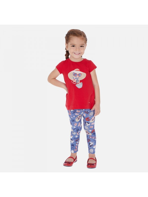 Set tricou si leggings cu imprimeu fetita