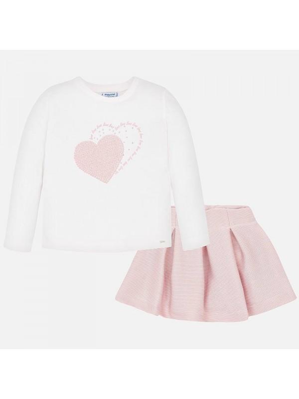 Set fusta si tricou inima fetita