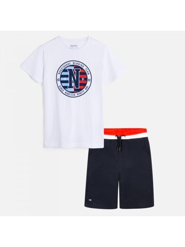 Set tricou logo si bermude baiat