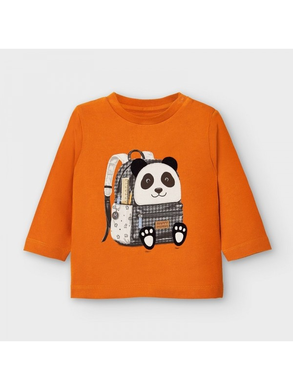 Tricou maneca lunga ghiozdan panda bebe baiat