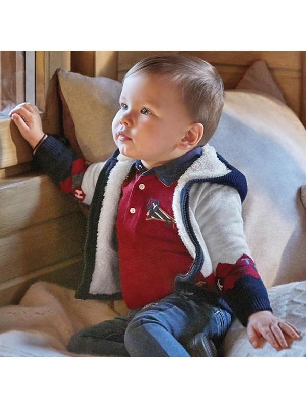 Jacheta tricot captusita romburi bebe baiat