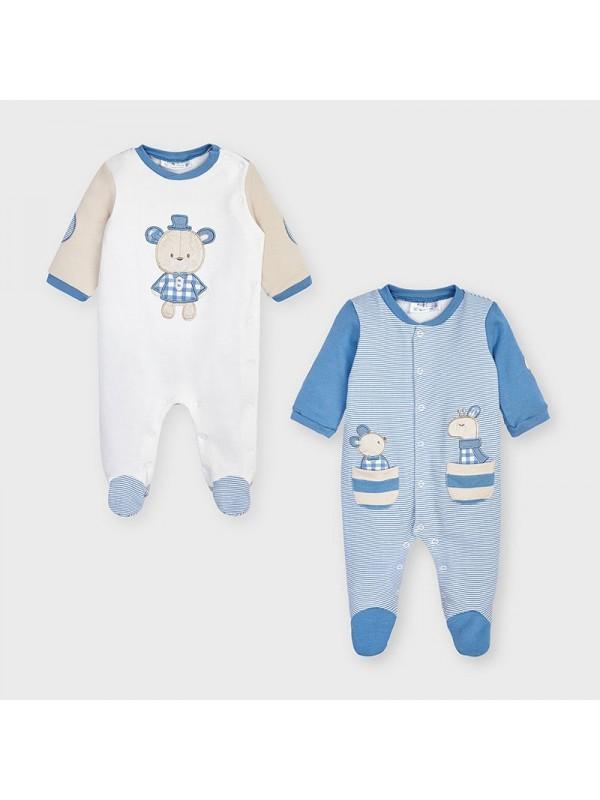 Set 2 pijamale nou-nascut baiat