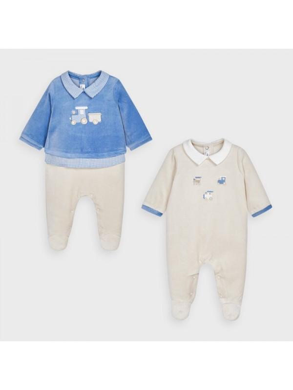 Set 2 pijamale plusate nou-nascut baiat