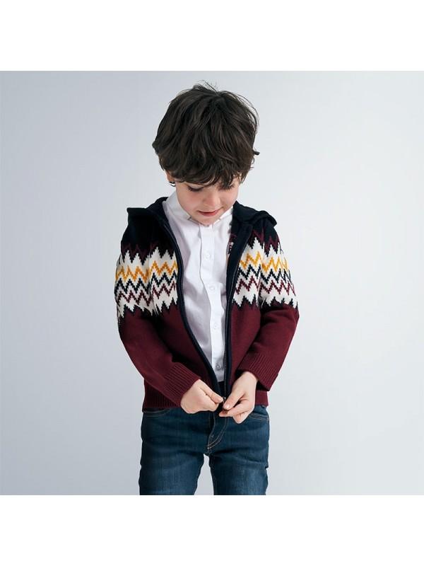 Jacheta tricot cu gluga baiat