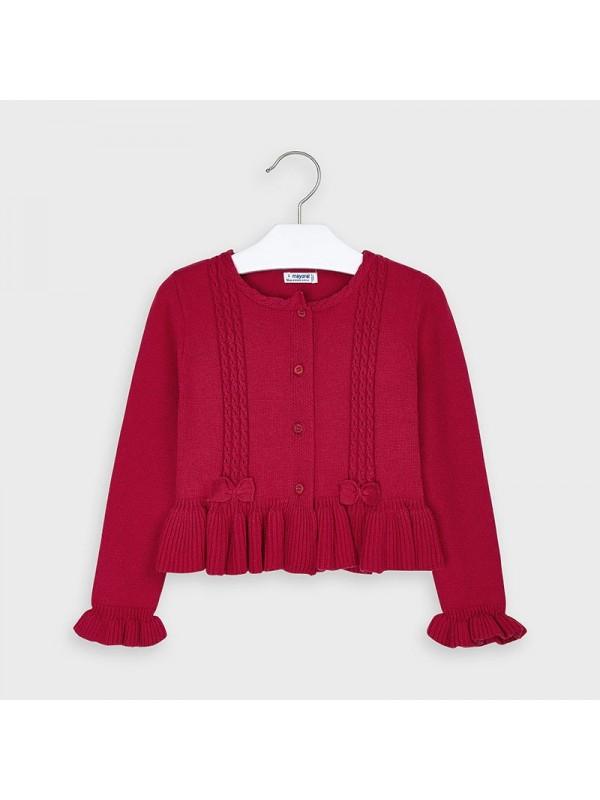 Cardigan tricot detalii gaurele fetita