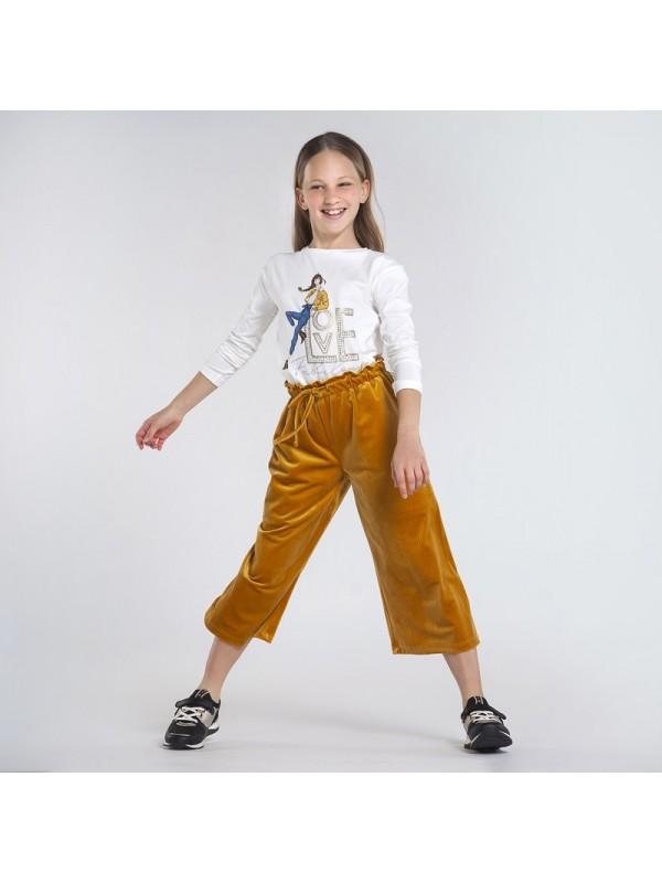 Pantaloni culotte catifea fata