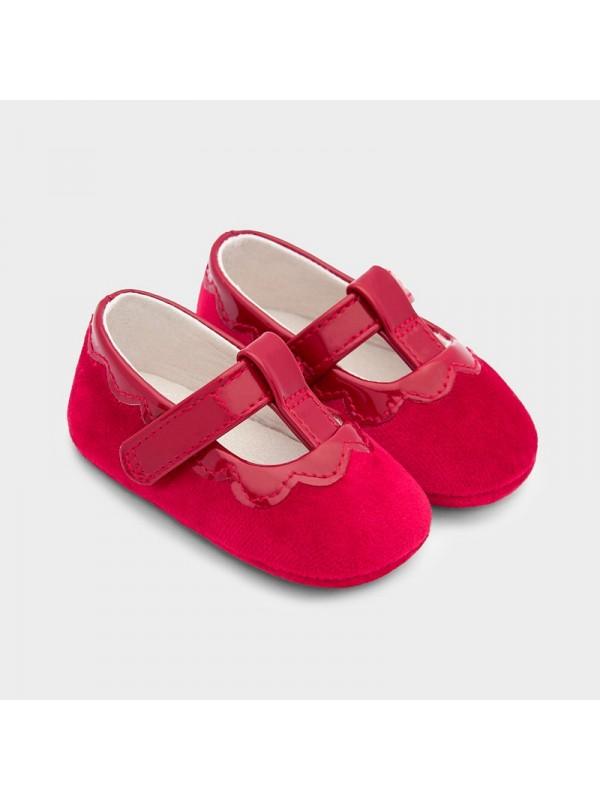Pantofi catifea si lac new born fata