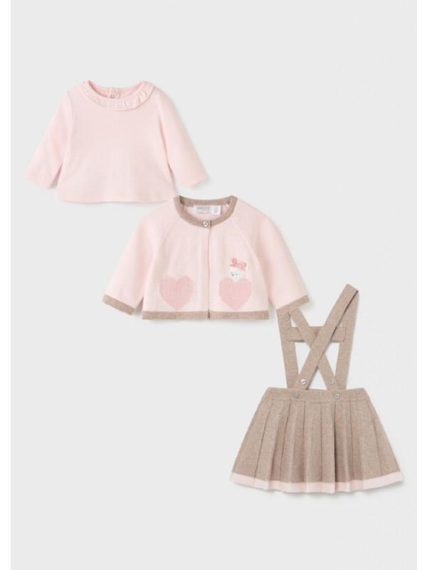Set fusta tricot nou-nascut fata