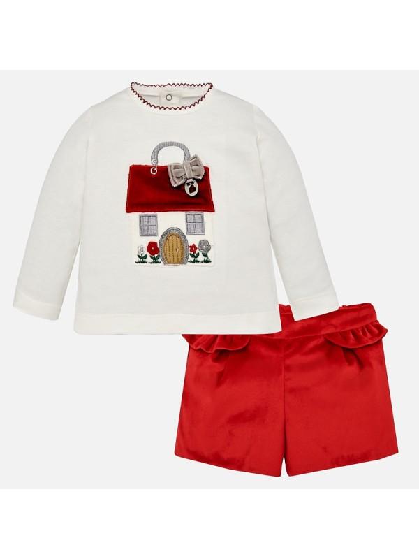 Set tricou si short catifea pentru bebe fetita