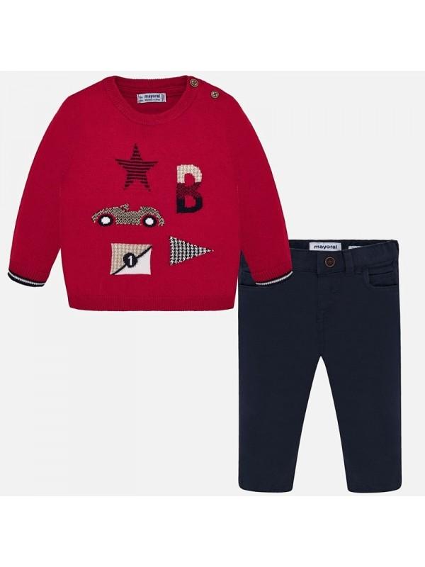 Set pantaloni lungi si pulover masina bebe baiat