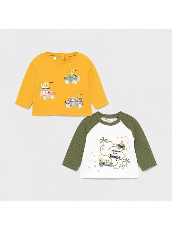 Set 2 tricouri maneca lunga nou-nascut baiat
