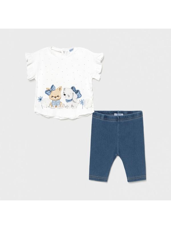 Set leggings denim bebe fetita