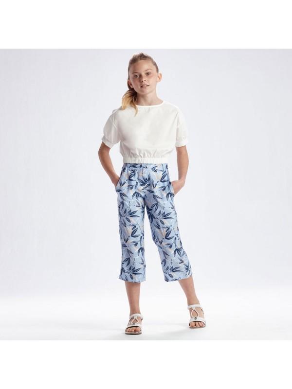 Pantaloni cropped imprimeu fata
