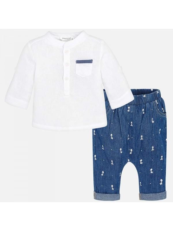 Set camasa si pantaloni lunig bebe nou-nascut