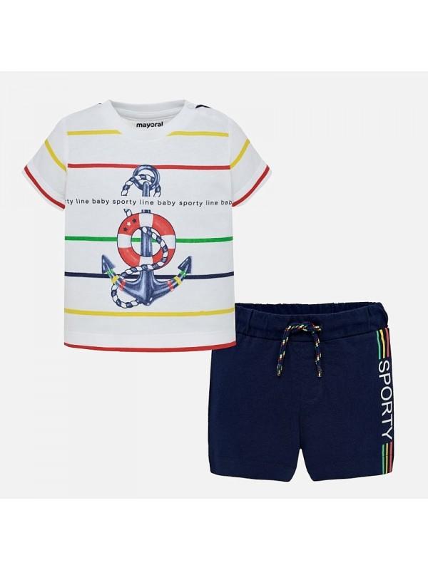 Set bermude si tricou ancora bebe baiat