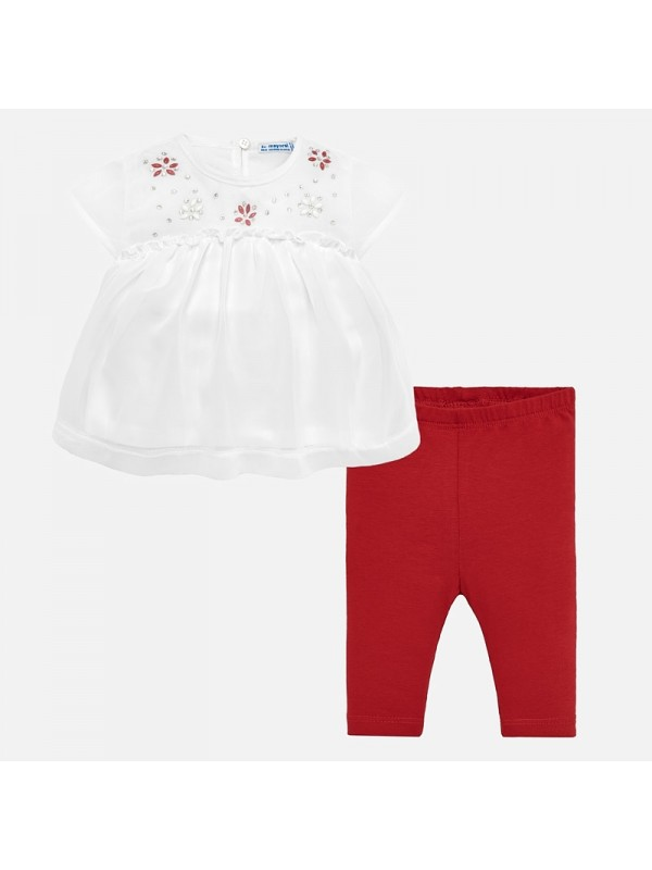 Set bluza strasuri si leggings bebe fetita