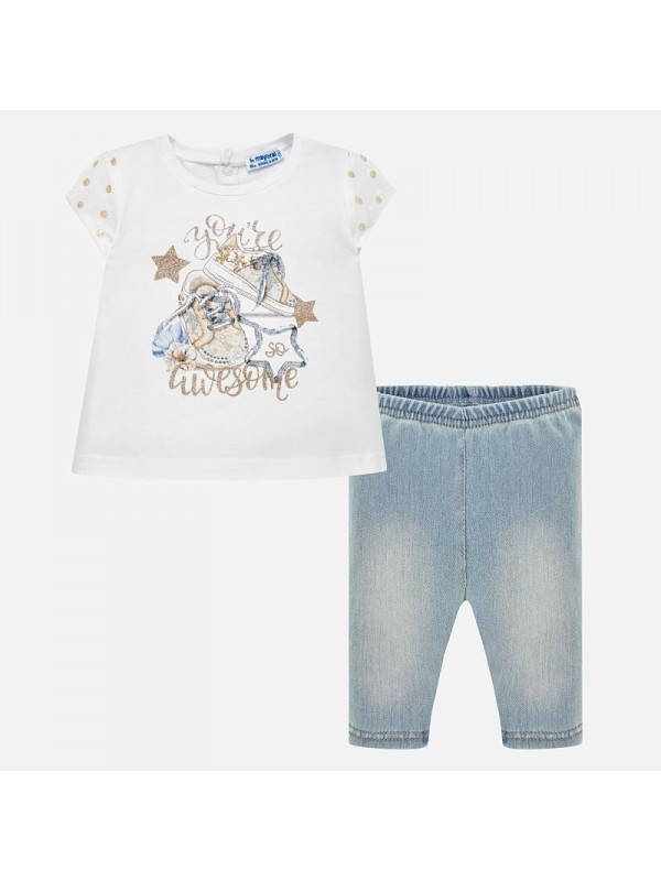 Set tricou si leggings denim bebe fetita