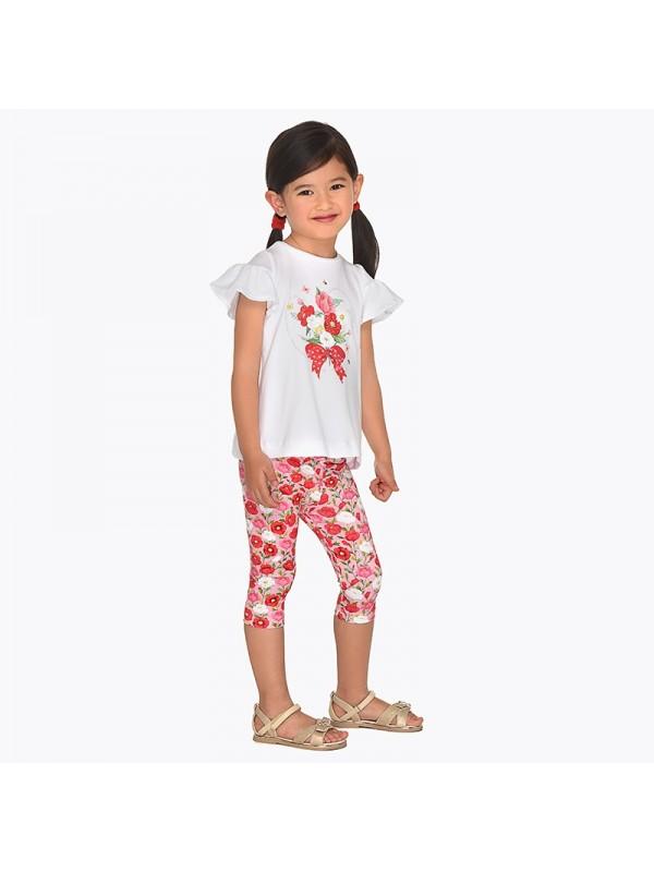 Set tricou si leggings scurti cu imprimeu fetita