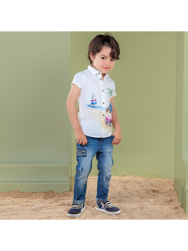 Pantaloni denim lungi patch-uri loose fit baiat
