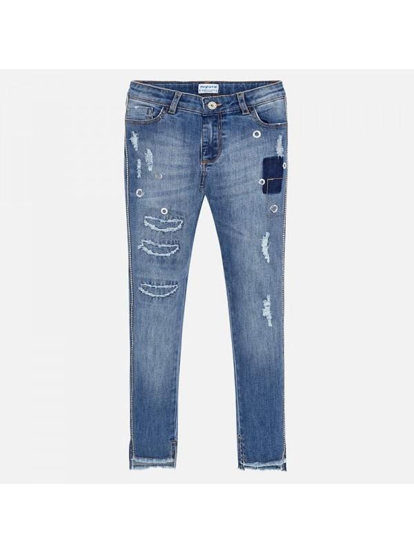 Pantaloni lungi denim aplicatii fata