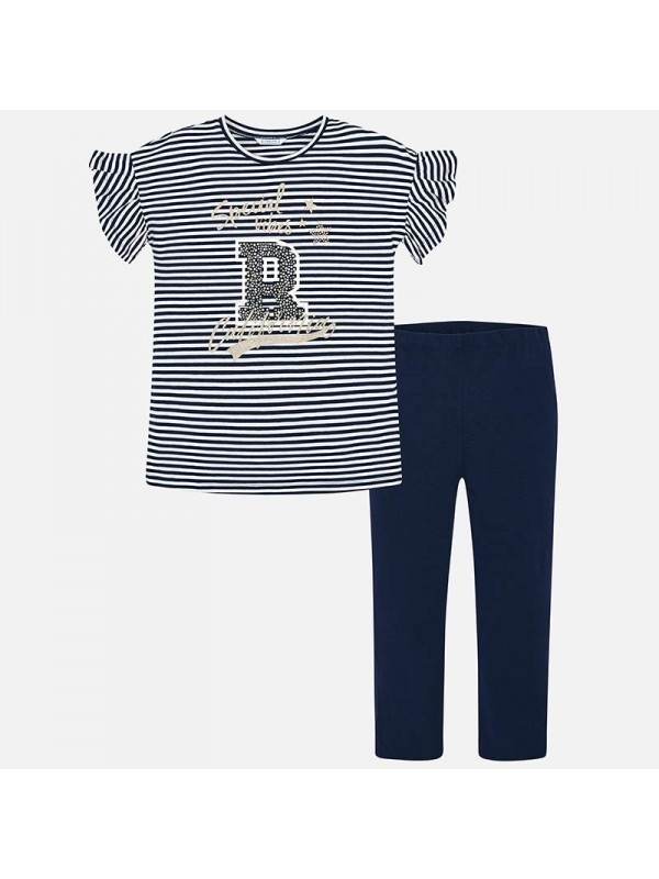 Set leggings si tricou dungi fata