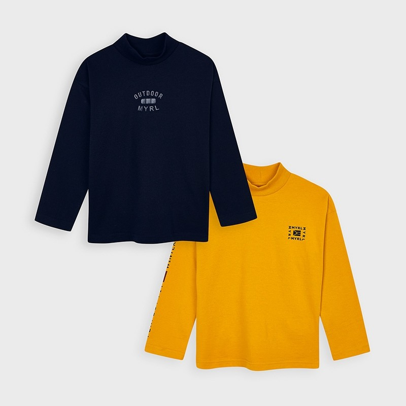 Set 2 tricouri maneca lunga guler inalt baiat